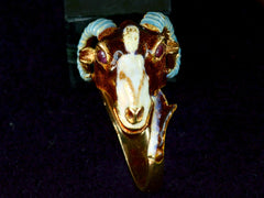 1960s Enamel Ram's Head Ring
