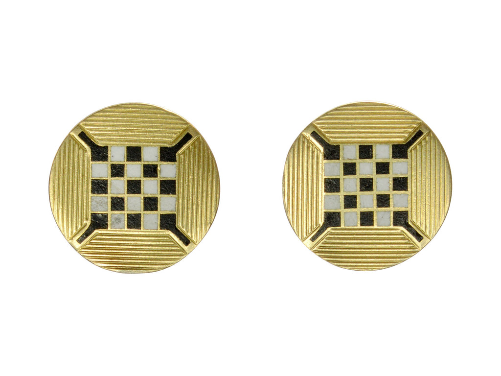 Art Deco Checkerboard Studs