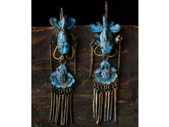 19th c. Kingfisher Feather Earrings