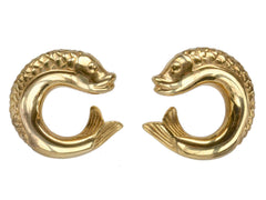 1950s Fish Earrings, Gold