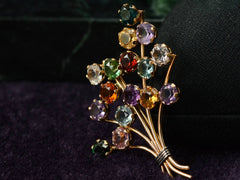 1960s Gemstone Bouquet Brooch