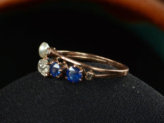 1900s French Diamond & Sapphire Ring