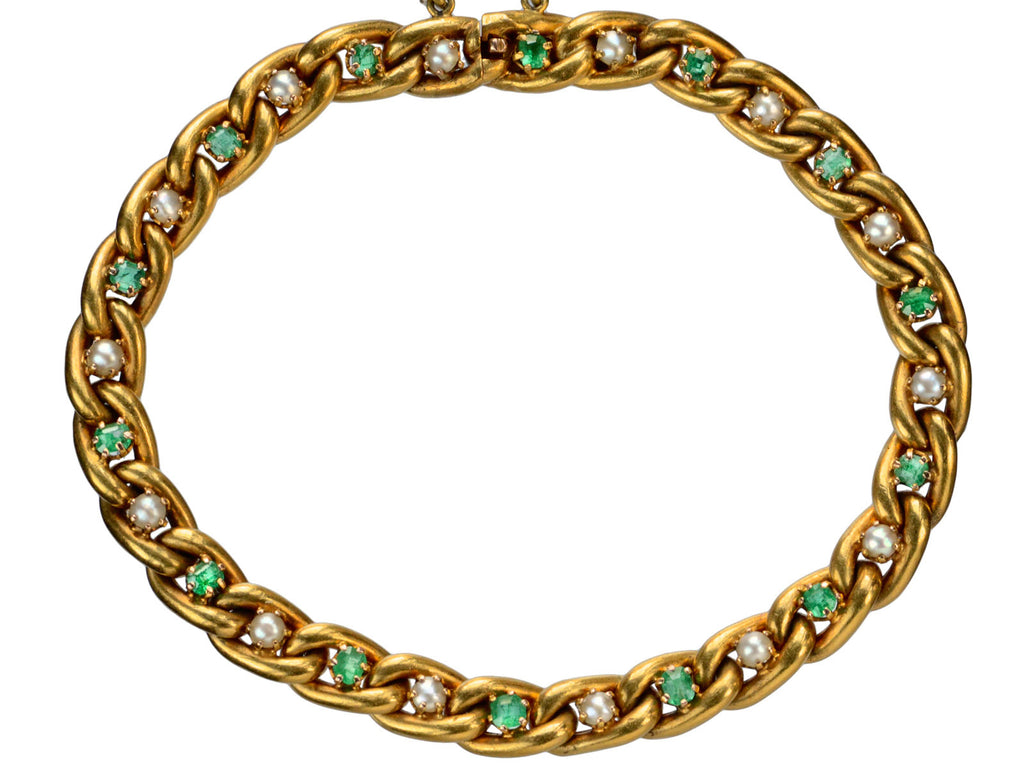 1900s French Emerald Bracelet
