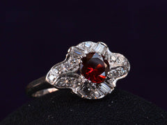1930s Deco Garnet & Diamond Ring