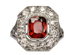 1920s Deco Garnet & Diamond Ring