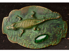 1900s Arts & Crafts Alligator Sash Pin