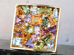 1980s Gemstone Cluster Ring