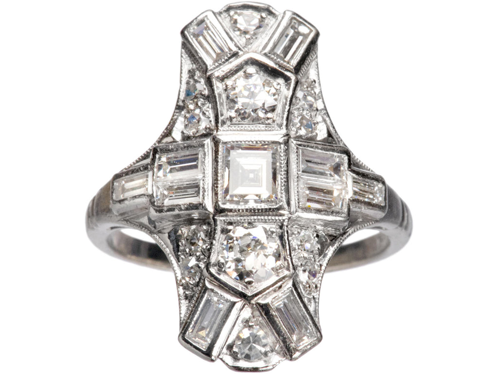 1930s Art Deco Step Cut Diamond Cocktail Ring, Platinum