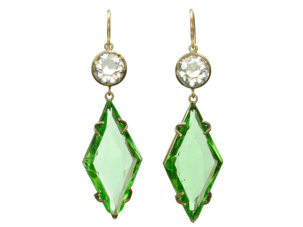 1920s Deco Green Earrings