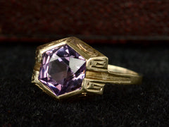 c1925 Deco Hexagonal Amethyst Ring