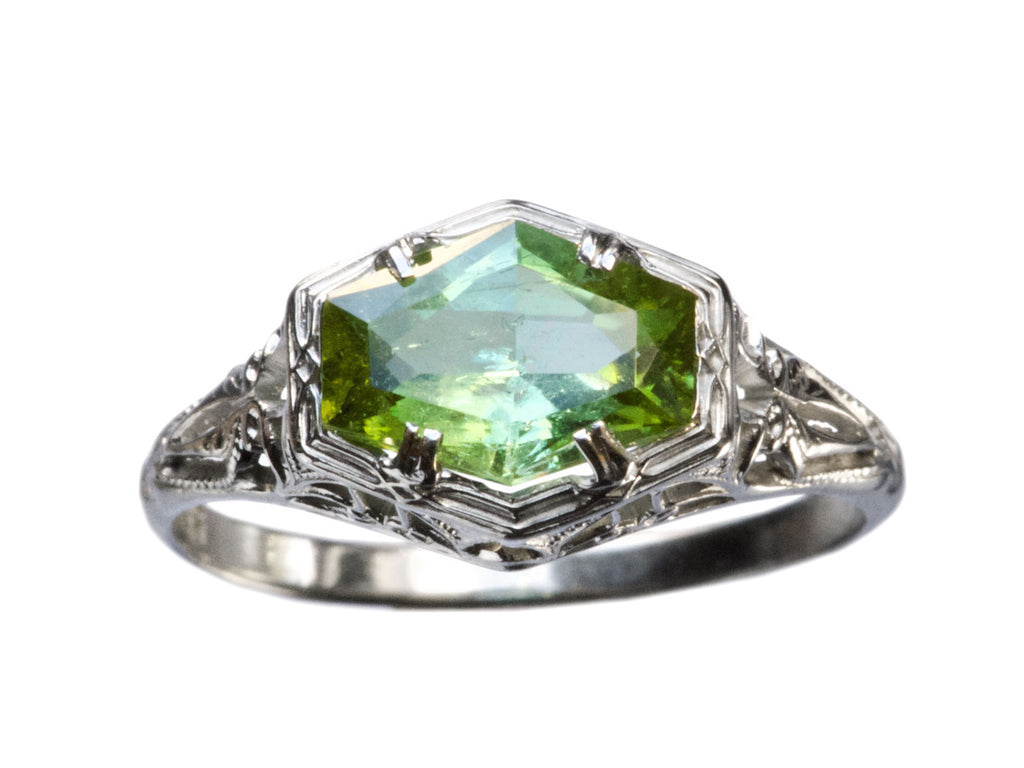 1920s Tourmaline Filigree Ring