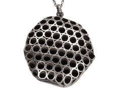 1970s Silver Honeycomb Necklace