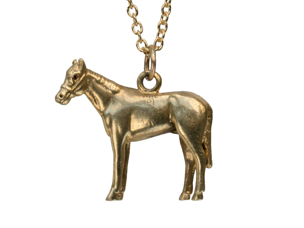 1940s Gold Horse Necklace