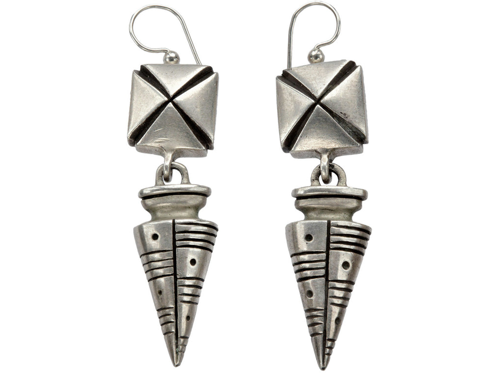 1990s Silver Amphora Earrings