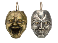 c1900 Kabuki Mask Earrings
