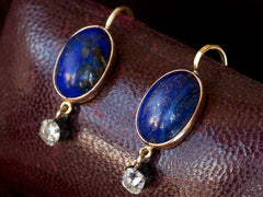 1900s Lapis and Diamond Earrings
