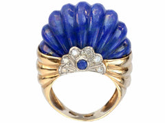 1960s Reeded Lapis Ring