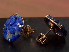 1920s Chinese Art Deco Carved Lapis Earrings