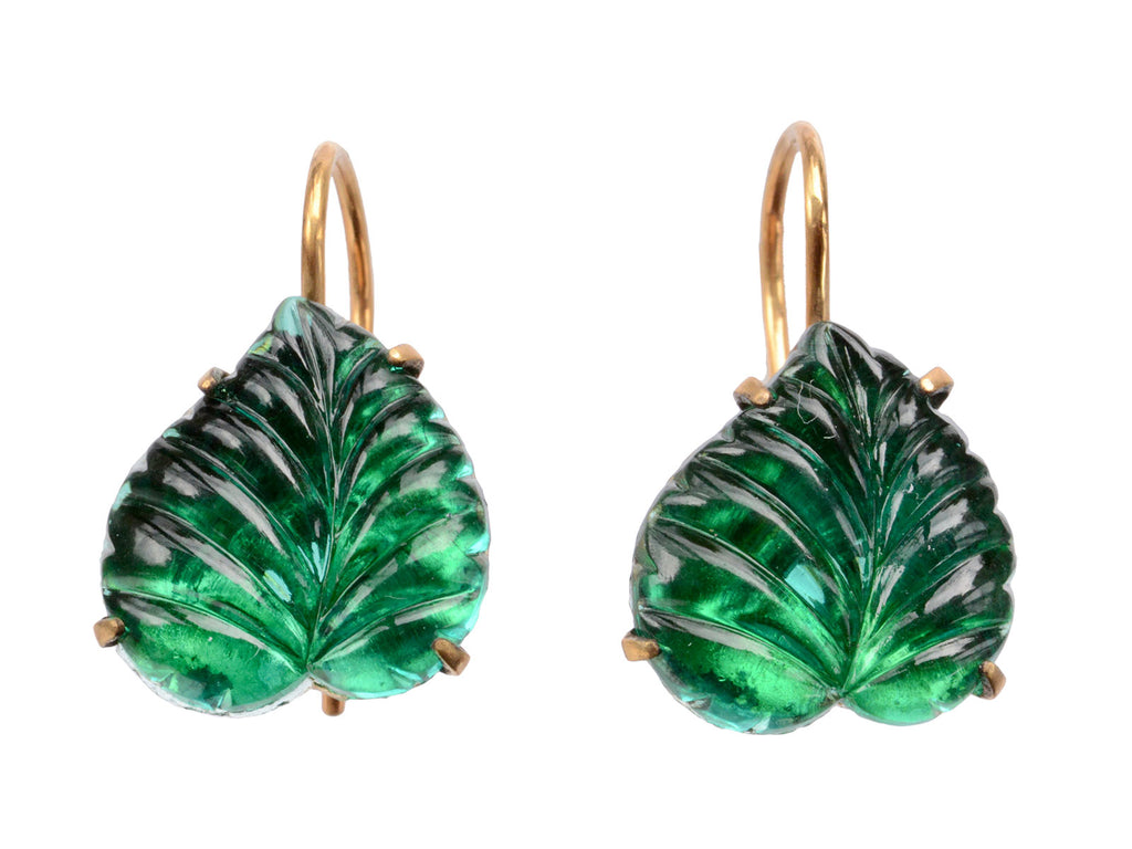 1920s Deco Green Leaf Earrings