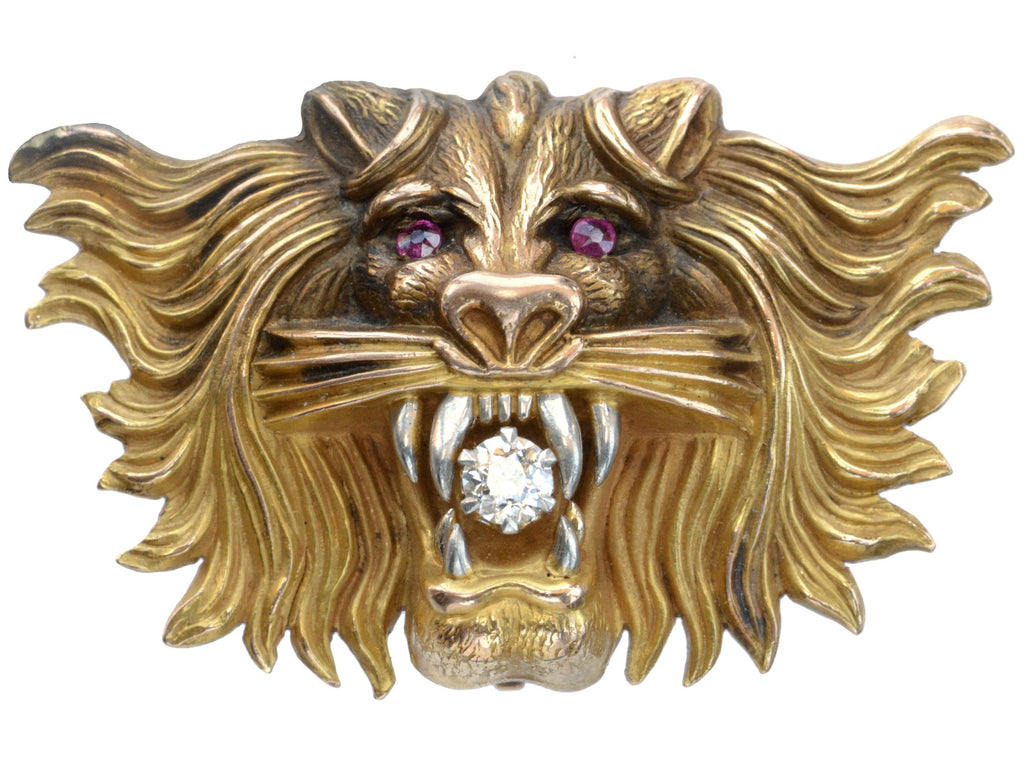 c1900 Diamond Lion Brooch