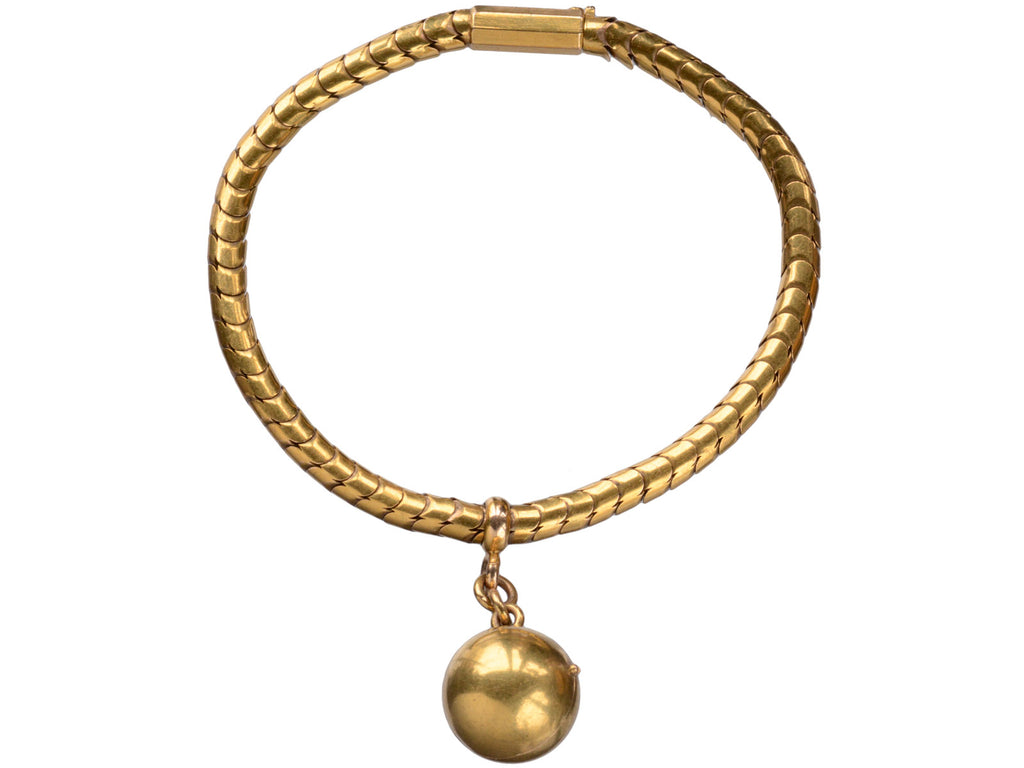 1850s Snake Chain Bracelet with Ball Locket