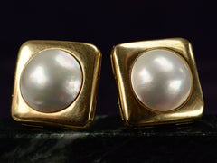 1980s Large Mabe Pearl Earrings