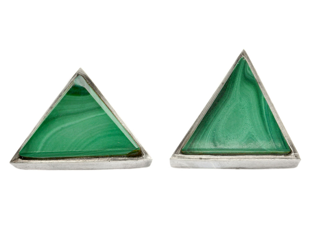 1970s Malachite Triangle Studs