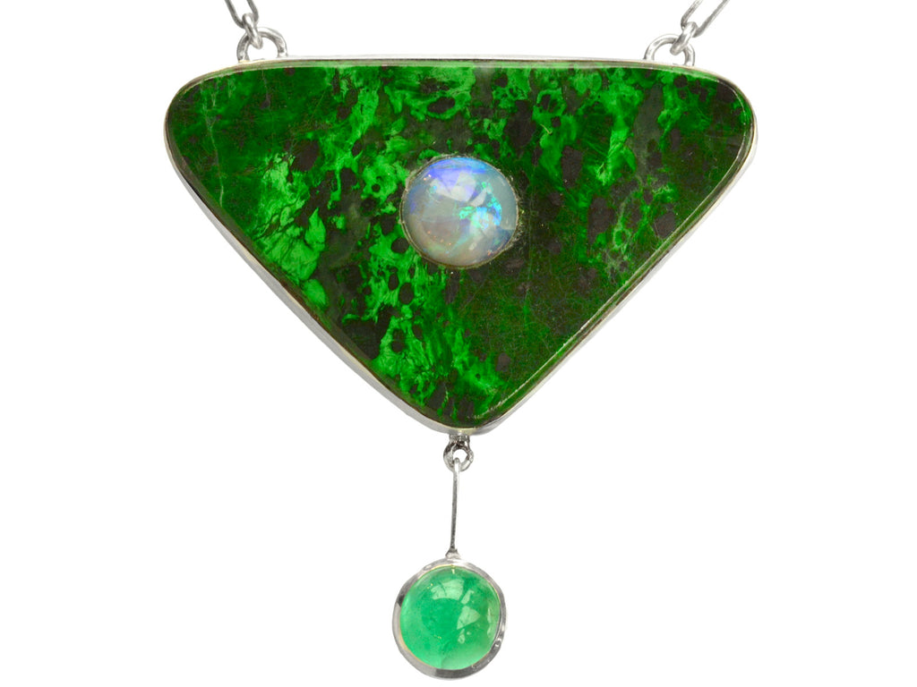 EB Maw Sit Sit, Emerald, and Opal Pendant Necklace