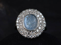 1930s Moonstone Cameo Diamond Ring