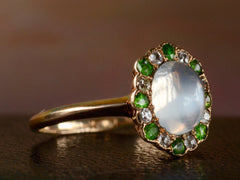 1900s Moonstone & Demantoid Ring