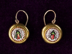 1880s Micromosaic Bug Earrings