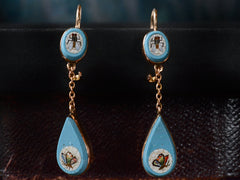 1870s Micromosaic Bug Earrings