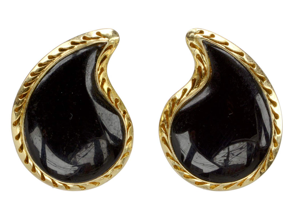 Vintage Onyx Paisley Earrings