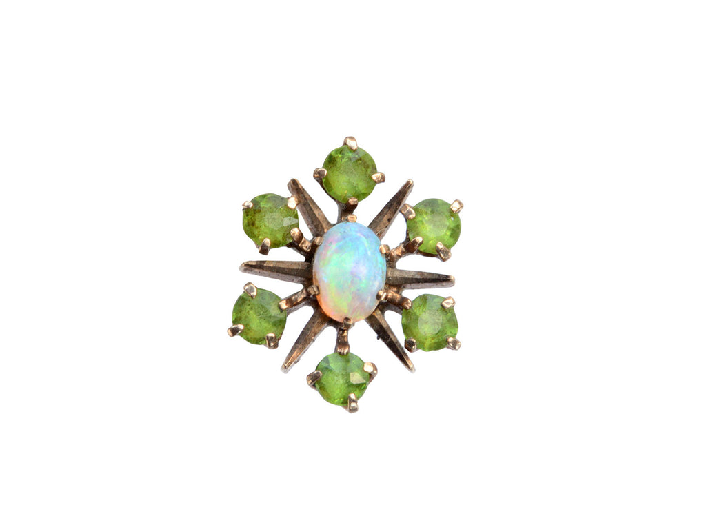Opal and Demantoid Garnet Stud Earring