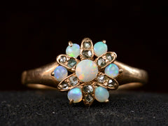 1890s Victorian Opal and Diamond Cluster Ring