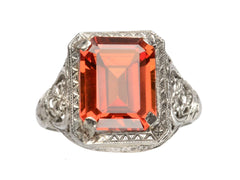 1930s Orange Filigree Ring