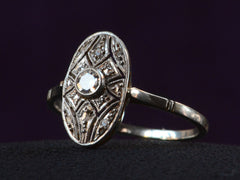 1920s French Oval Filigree Ring