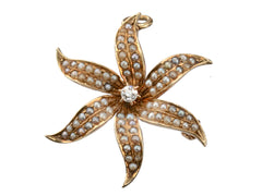 1900s Pearl Lily Pendant