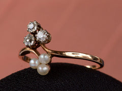 1900s Diamond & Pearl Clover Ring