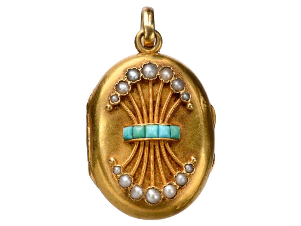 1880s Turquoise & Pearl Locket
