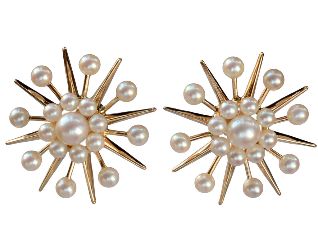 1940s Pearl Starburst Earrings