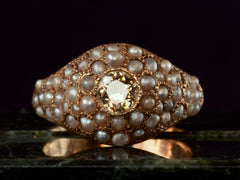 1890s Pearl & Yellow Diamond Ring
