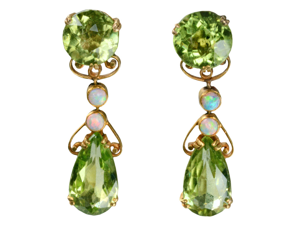 Art Nouveau Peridot & Opal Earrings