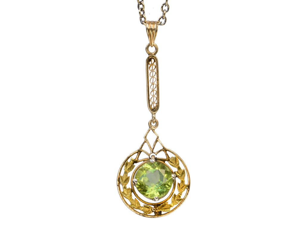 1930s Peridot Pendant Necklace