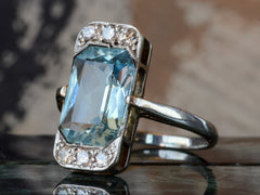 1920s Deco Aqua & Diamond Ring