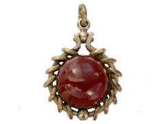 c1890 Red Glass Fob Pendant