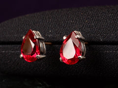 1920s Red Paste Stud Earrings