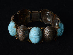 1920s Turquoise Glass Scarab Bracelet