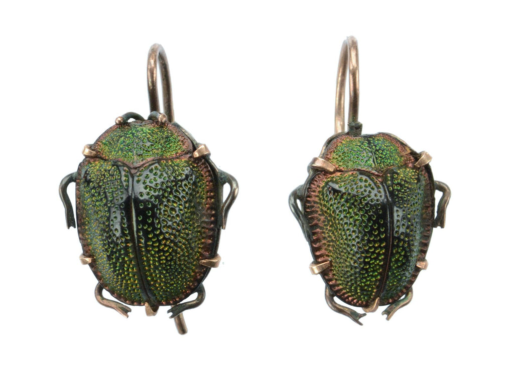 1890s Victorian Scarab Earrings