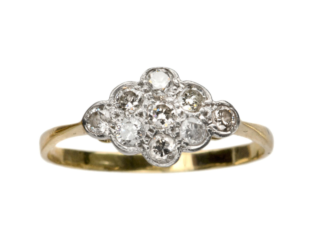 1920s English Diamond Cluster Ring